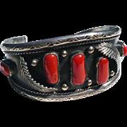 Silver  Coral Cuff Bracelet