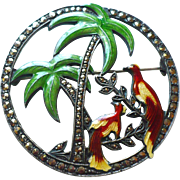 Sterling Enamel Palm Tree Pin