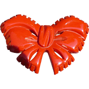 Bakelite Red Bow Pin