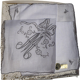 Embroidered Initial M Handkerchief
