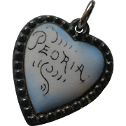 Peoria Enamel Sterling Heart Charm