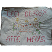 Embroidered God Bless Our Home