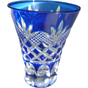 Cut Crystal Shot Glass Cobalt Blue