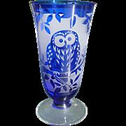 Cut Crystal Cobalt Owl Vase