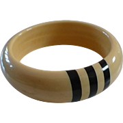 Cream Black Stripe Bakelite Bracelet