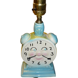 Child's Ceramic Clock Lamp