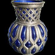 Silver Cased Cobalt Vase