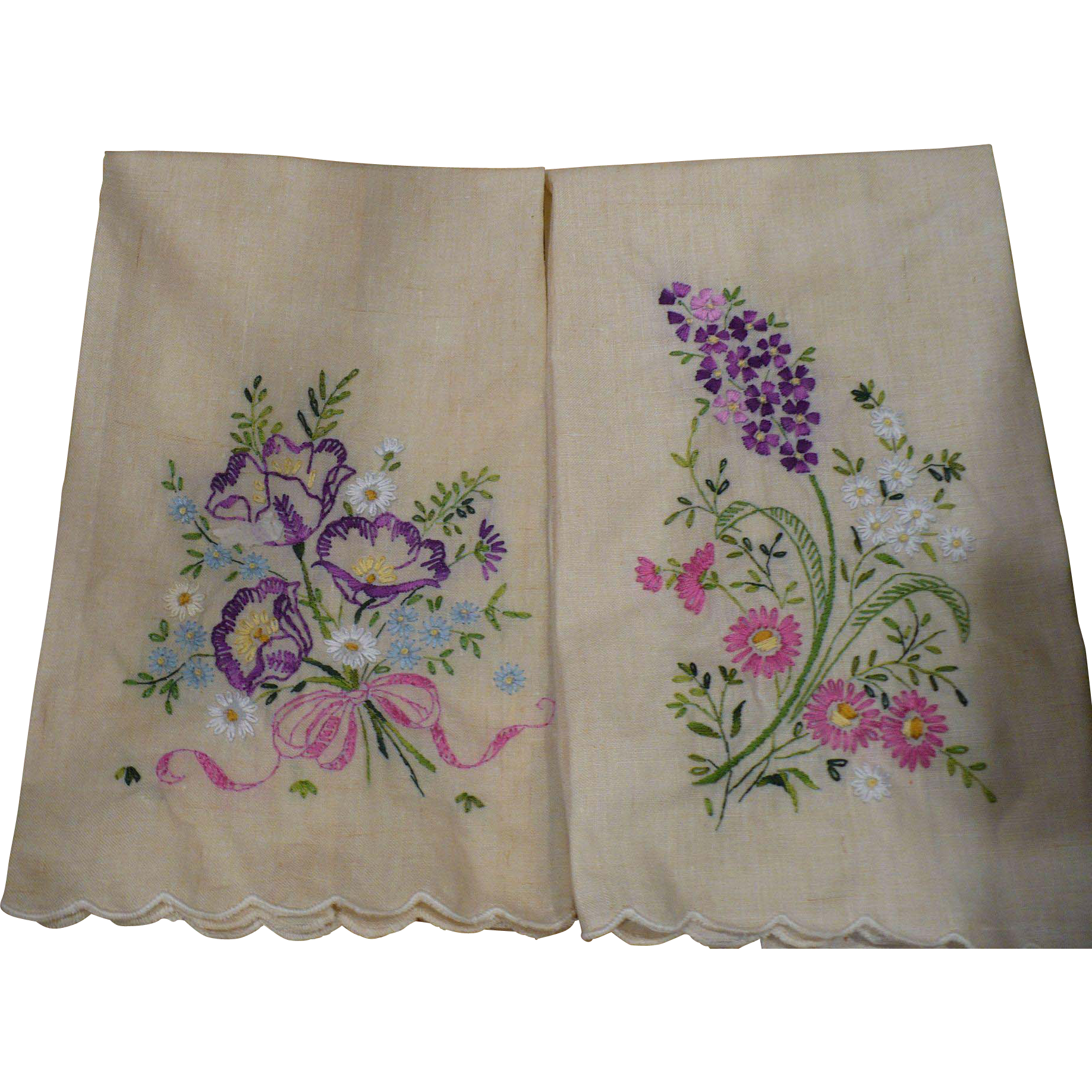 Floral Embroidered Towels From Looluus On Ruby Lane