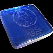 Margaret Thatcher Cobalt Glass Paper Weight
