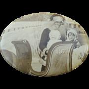 1930's Purse Mirror Santa & Children