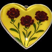 Reverse Carved Bakelite Heart Pendant