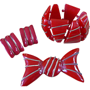 Red Bakelite Bracelet  Pin Earrings Set