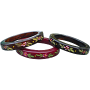 Three Bakelite Floral Bracelets