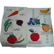 Fruit Vegetable Applique Towels