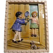Boy Girl Chalkware Plaque