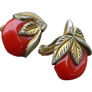 Bakelite Clad Cherry Earrings