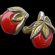 Bakelite Clad Cherry Earrings