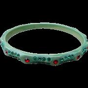 Green Celluloid Rhinestone Bracelet
