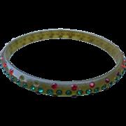 Red Green Rhinestone Celluloid Bracelet