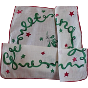 Greetings Christmas Miseltoe Handkerchief
