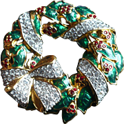 Swarovski Christmas Wreath Pin