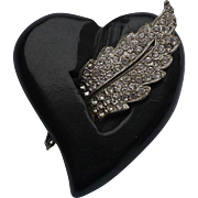 Black Bakelite Rhinestone Heart Pin