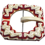 Carved Celluloid Belt Buckle