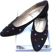 Black Suede Dot Shoes