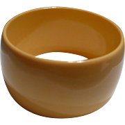 Wide Bakelite Cream Bracelet