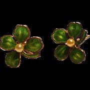 Enamel Clover Earrings