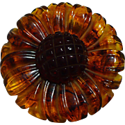 Carved Bakelite Rootbeer Flower Pin