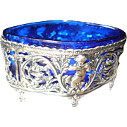 Cobalt Glass Sterling Salt Cellar