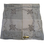 Embroidered Linen Handkerchief
