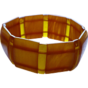 Bakelite Faux Amber Stretch Bracelet