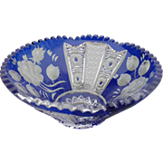 Bohemian Blue Cut Crystal Bowl