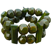 Bakelite Green Facet Stretch Bracelet