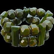 Bakelite Green Facet Stretch Bracelet