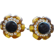 Applejuice Rhinestone Bakelite Earrings