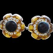 Applejuice Rhinestone Bakelite Earrings