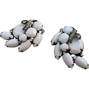 Eisenberg  Milk Glass Earrings