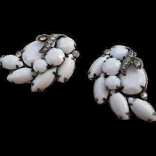 Eisenberg  Milk Glass Earrings