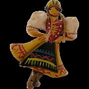 Folk Art Bakelite Dancing Girl