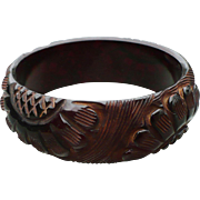 Wine Carved Bakelite Bracelet