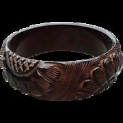 Wine Carved Bakelite Bracelet