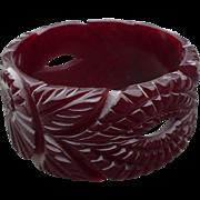 Wide Wine Bakelite Bracelet
