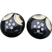 Black Rhinestone Celluloid Earrings