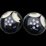 Black Rhinestone Celluloid Earrings
