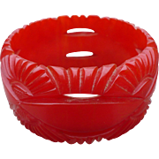 Wide Red Bakelite Bracelet
