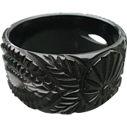 Black Carved Wide Bakelite Bracelet