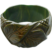 Wide Green Bakelite  Bracelet